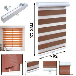 """28"""" x 72"""" Brown Zebra Roller Blinds Cordless Dual Layer Shad"""