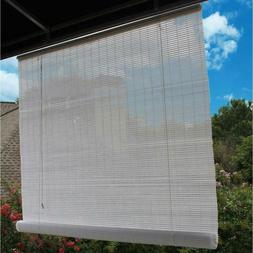 48 in. W x 72 in. L White Exterior Roll Up Patio Sun Shade