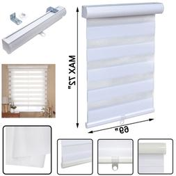 """69"""" x 72"""" White Zebra Roller Blinds Cordless Dual Layer Shad"""