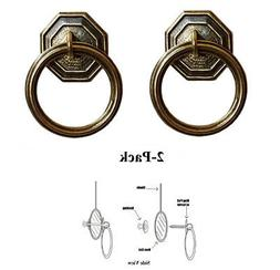Designer Series Roller Shade Ring PULLS - Antique Brass Hexa