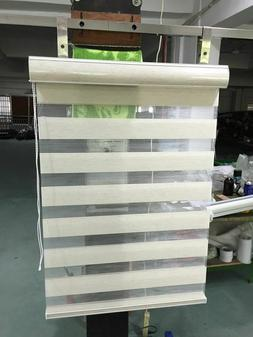 Double Layer Roller Blinds Wide Blade Plain Window Shades Fo