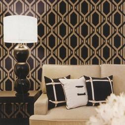 Patton Geometric Black and Gold Diamond Metallic Stripe Shad