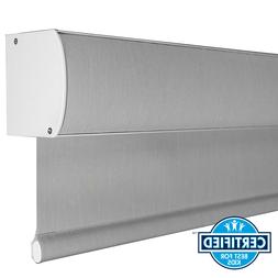 Home DIY Grey Thermal Window Blind Cordless Roller Shade Win