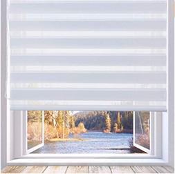 LUCKUP Horizontal Window Shade Blind Zebra Dual Roller Day a