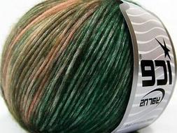 Ice ROCK N ROLL Yarn #65851 GREEN SHADES SALMON Self Stripin
