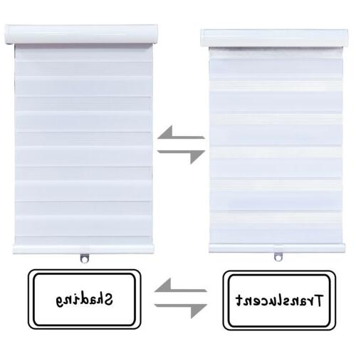 """69"""" White Zebra Roller Cordless Dual Shades or"""