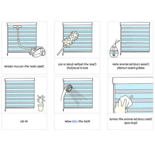 """69"""" 72"""" Zebra Roller Blinds Cordless Dual Layer Shades Sheer or"""