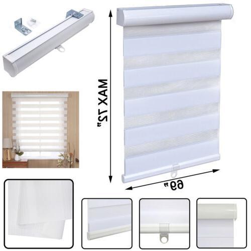 69 x 72 white zebra roller blinds