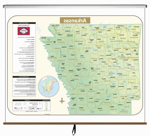 arkansas large scale shaded relief wall map