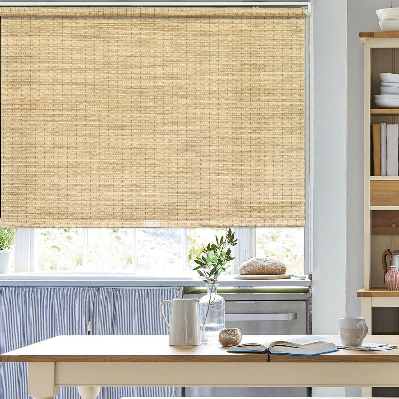 bamboo color natural shade cordless window roller