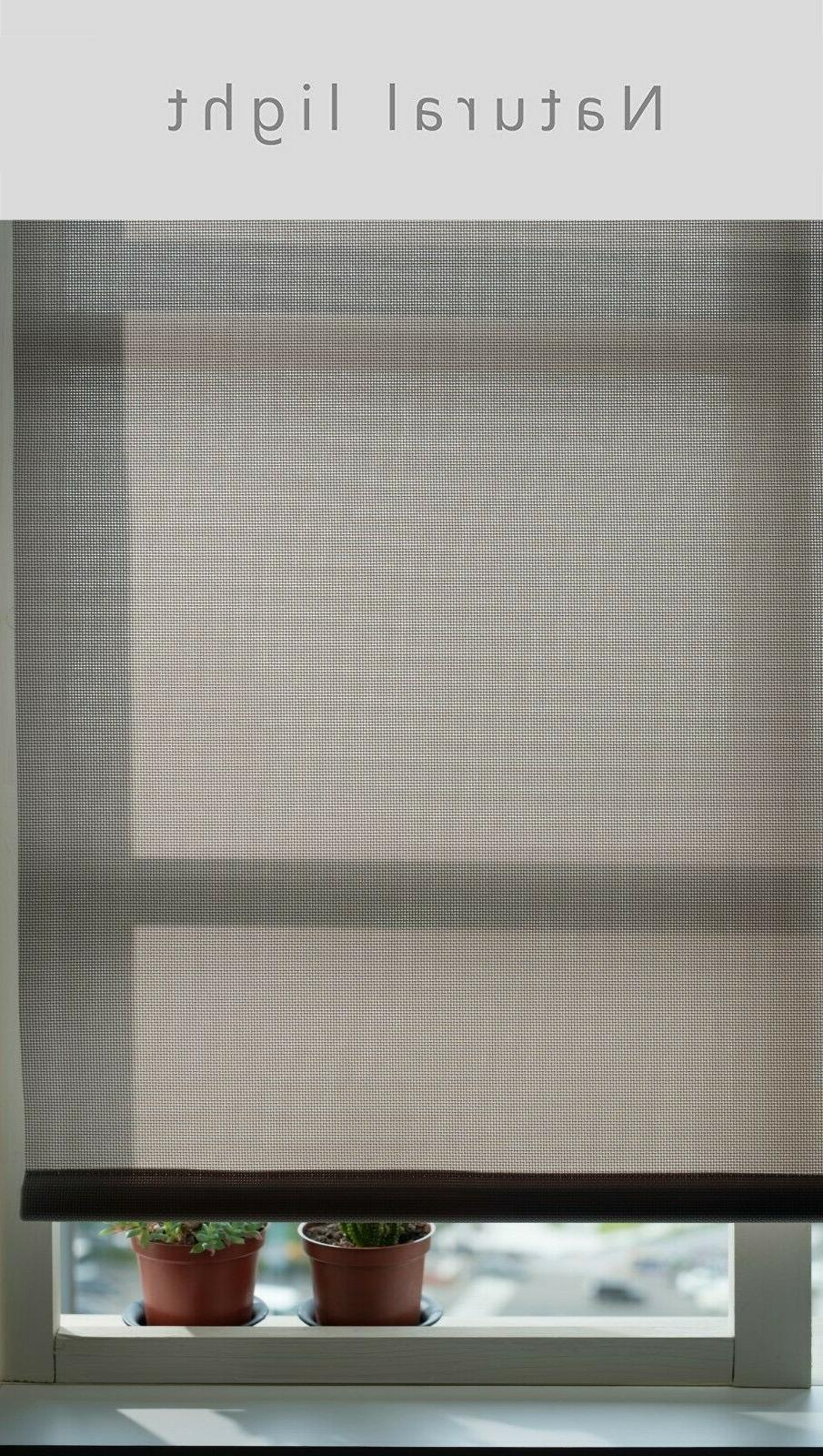 Beige Control Battery Motorized Roller Shade Electrical Blinds -