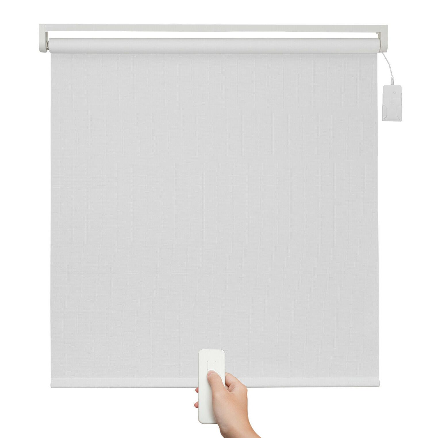 White Remote Control Motorized Roller Electrical Roller Shade-