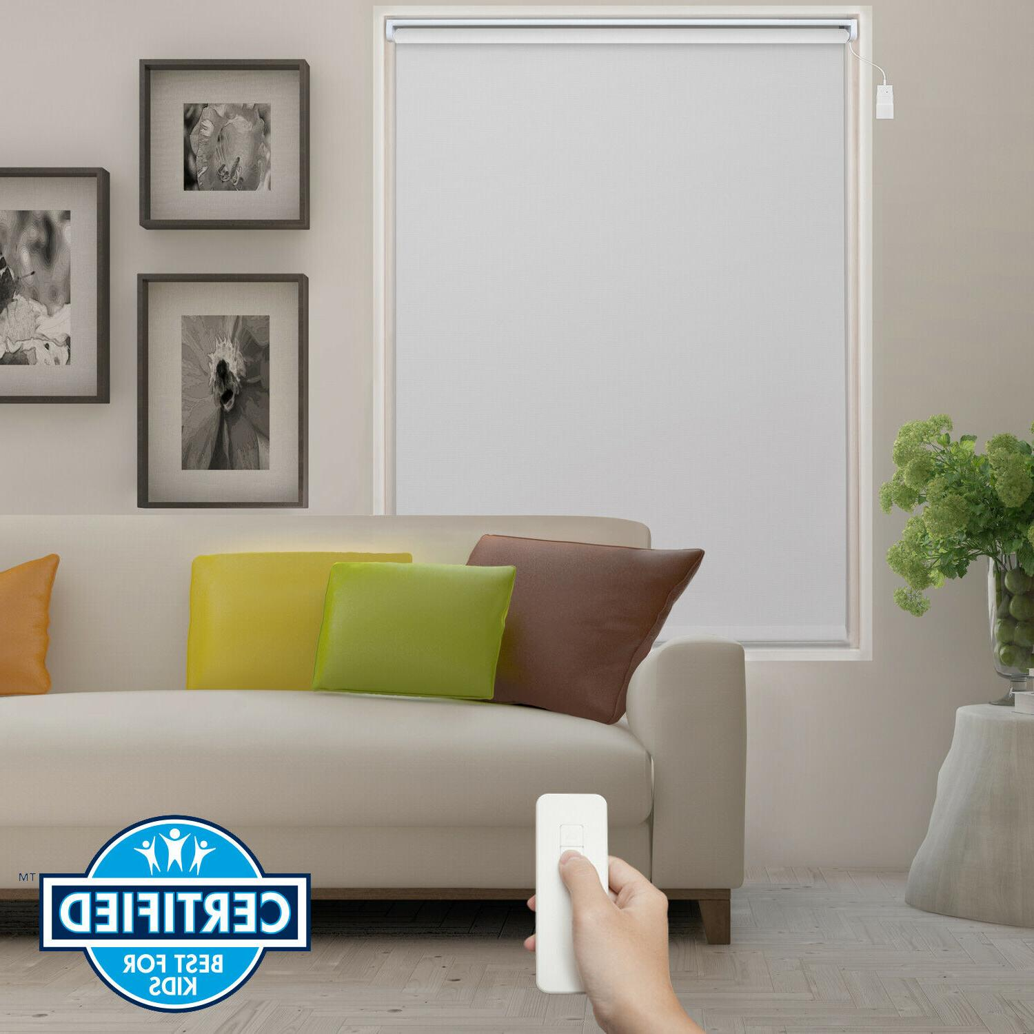 white remote control battery motorized roller blind