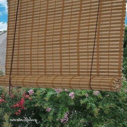window shade bamboo light brown slat roll