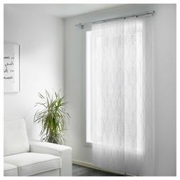 Set of 2 - Ikea GRYNET Panel Curtain Blind White Patterned 2